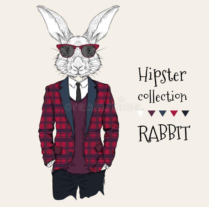 兔子行家的例证在夹克、裤子和毛线衣装饰了 也corel凹道例证向量 库存例证