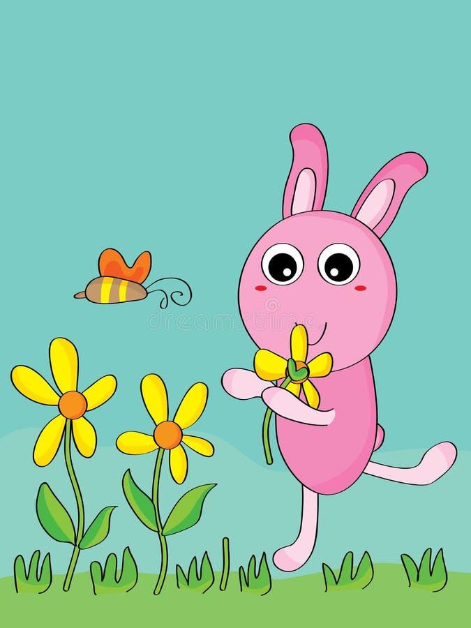 兔子采撷花 向量例证