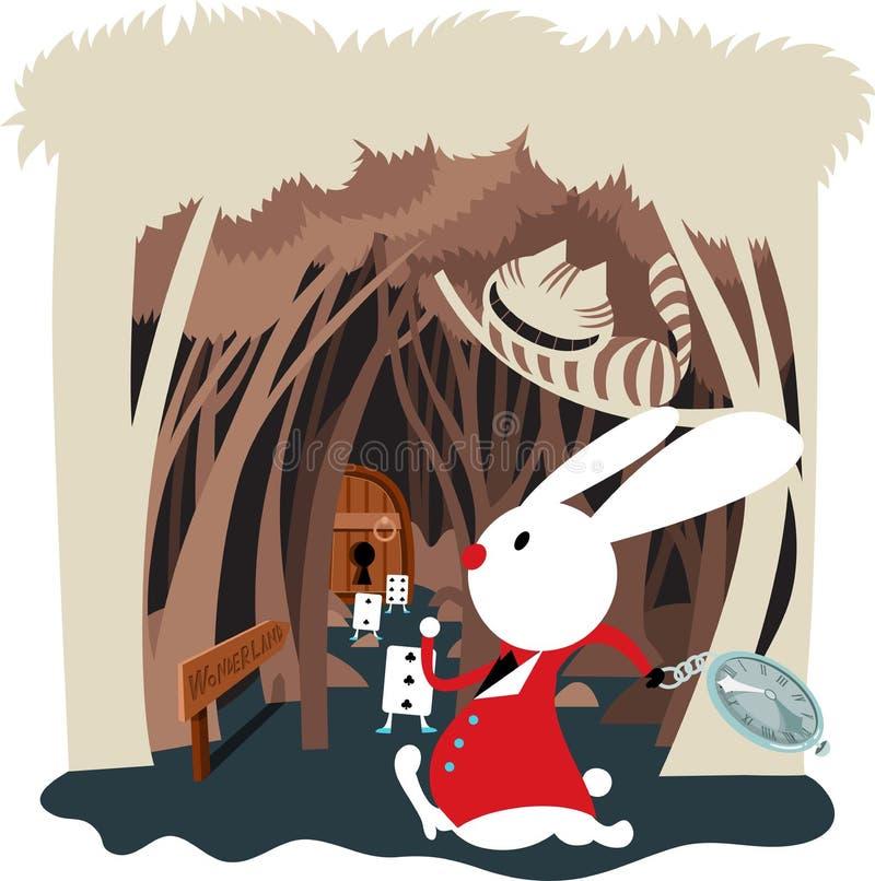 兔子霍尔在妙境 库存例证
