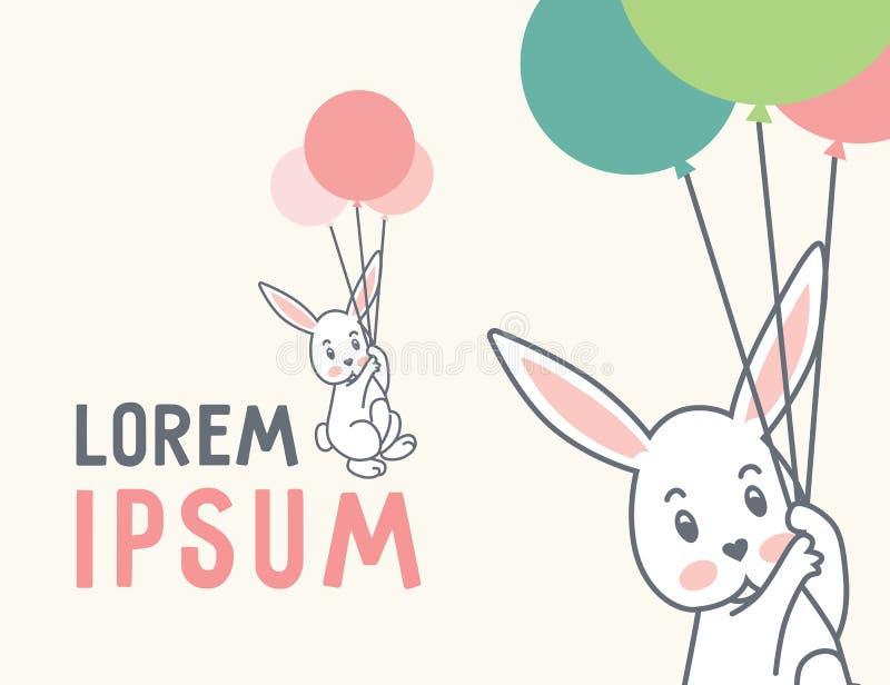 兔子&气球-在桃红色的传染媒介商标 皇族释放例证
