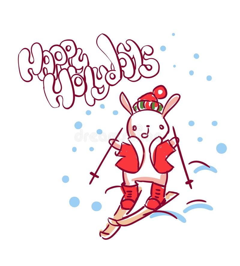 兔宝宝体育新年字符圣诞卡片乱画样式 向量例证