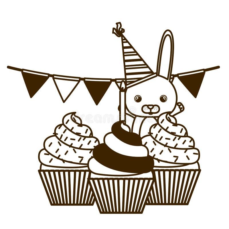 兔宝宝剪影与生日快乐蛋糕的  向量例证