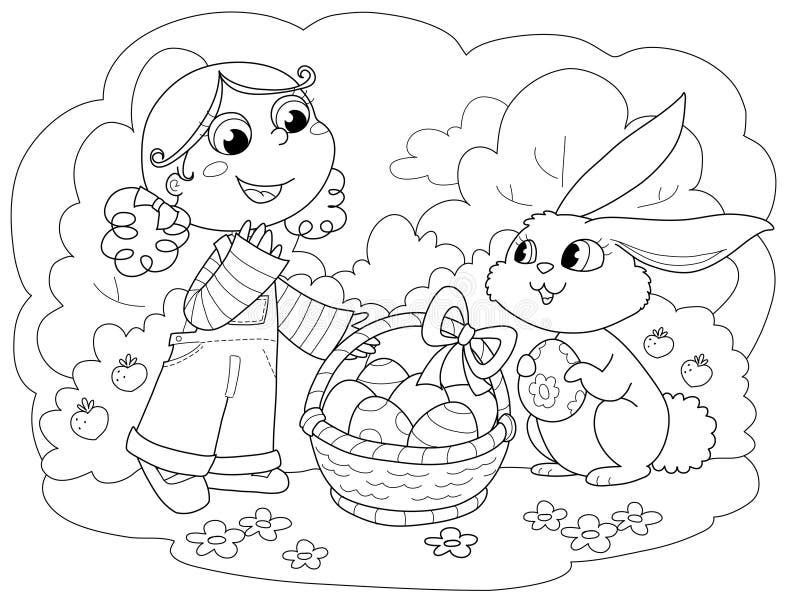 兔宝宝复活节女孩 皇族释放例证