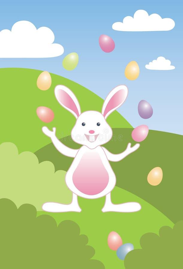 兔宝宝复活节彩蛋玩杂耍 库存例证