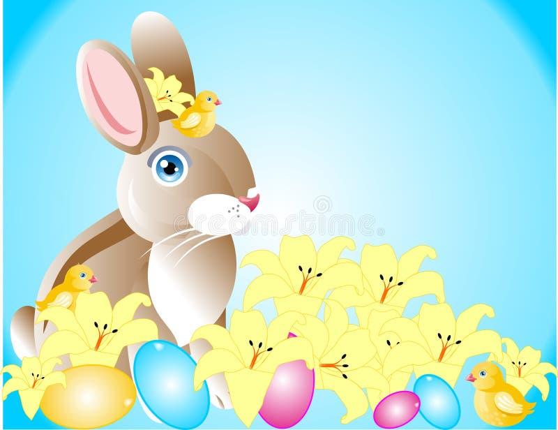 兔宝宝小鸡复活节春天 向量例证
