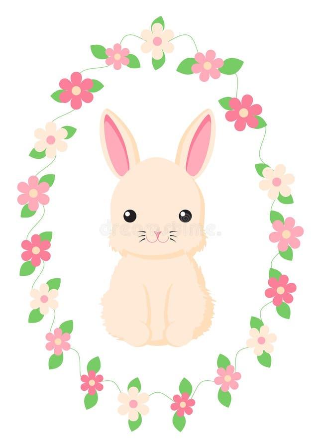 兔宝宝愉快的复活节 导航复活节贺卡的,邀请例证用在天蓝色背景的白色逗人喜爱的兔子 库存例证