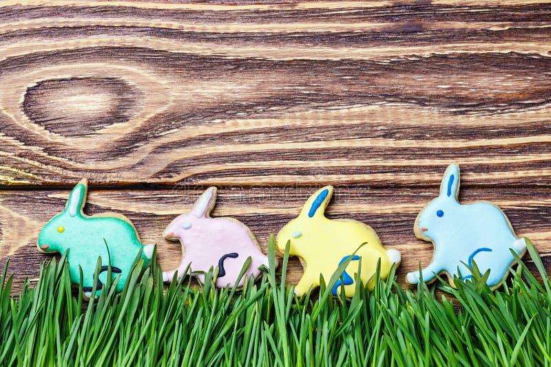 兔宝宝曲奇饼对天复活节快乐 图库摄影