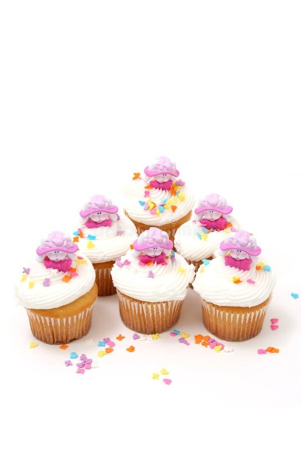 兔宝宝杯形蛋糕复活节六 免版税图库摄影