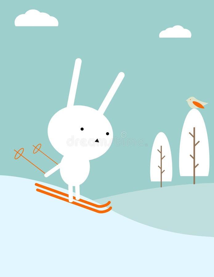兔宝宝滑雪 向量例证