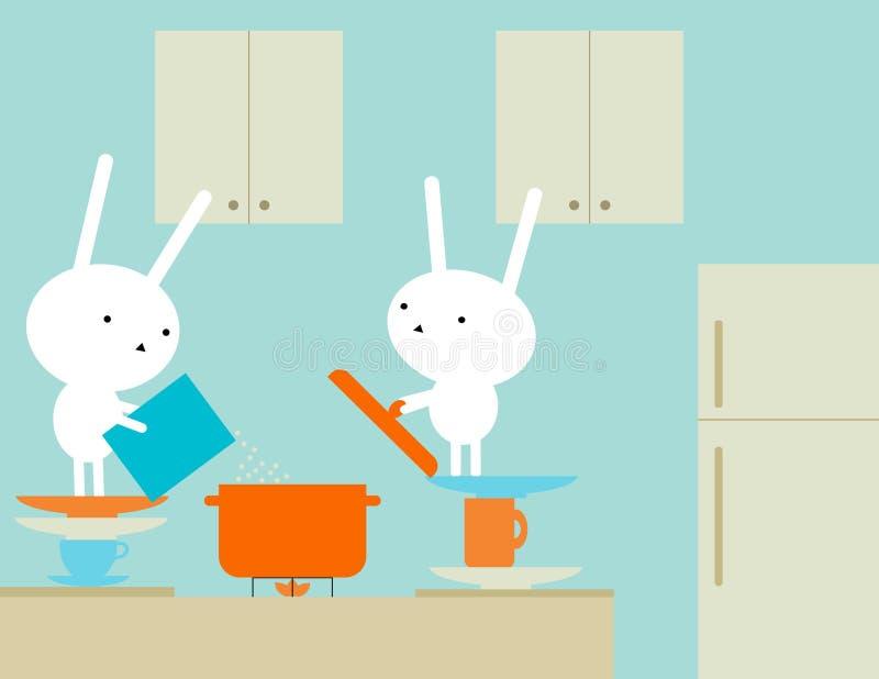 兔宝宝烹调 库存例证