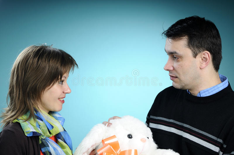 兔宝宝礼品人提供的白色 免版税库存图片