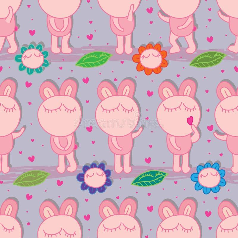 兔宝宝肥胖对称自然无缝的样式 向量例证