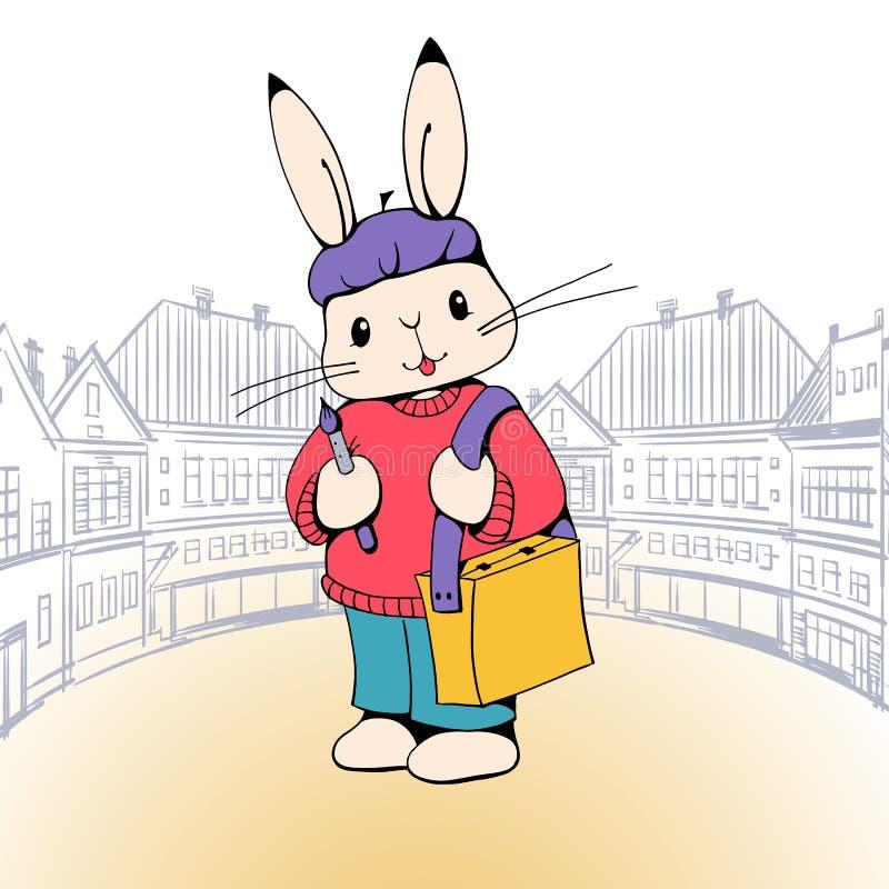 兔宝宝艺术家 皇族释放例证