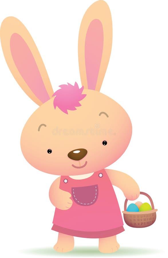 兔宝宝逗人喜爱的复活节粉红色 皇族释放例证