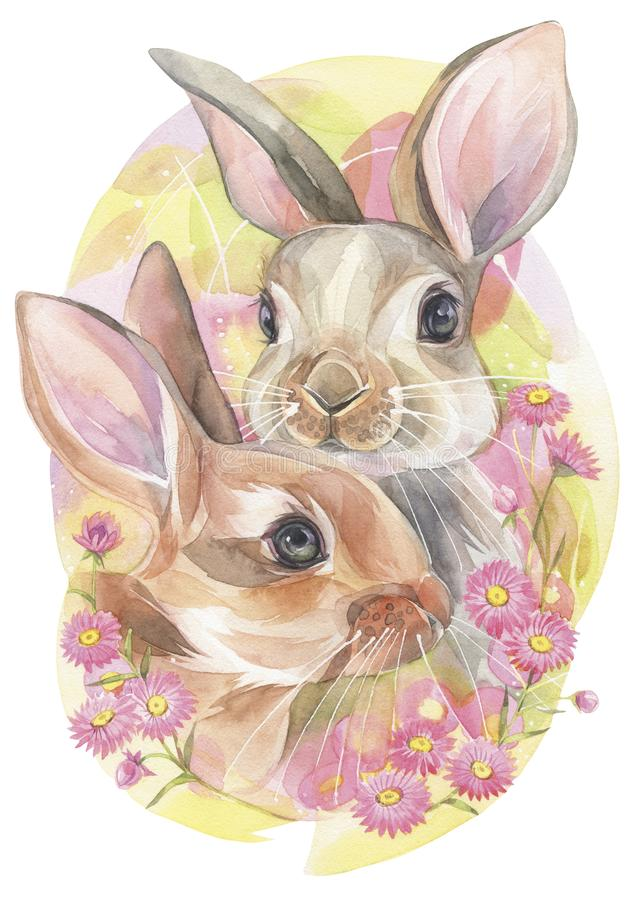 兔宝宝逗人喜爱的夫妇在桃红色花的 库存例证