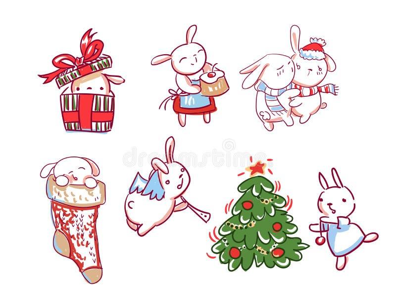 兔宝宝集合新年字符圣诞卡片乱画样式 库存例证