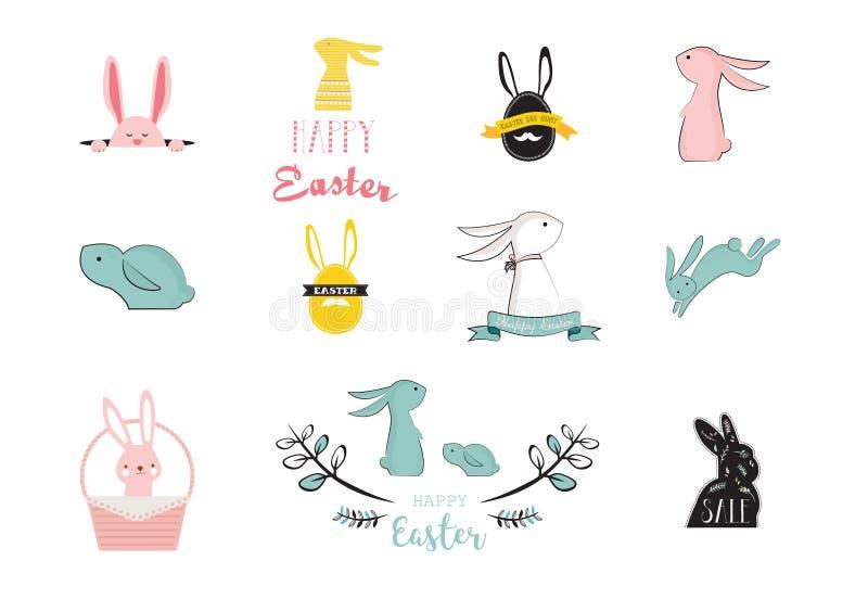 兔宝宝,兔子,逗人喜爱的字符为复活节设置了,、孩子和婴孩T恤杉和贺卡 向量例证