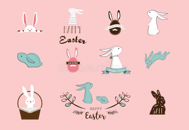 兔宝宝,兔子,逗人喜爱的字符为复活节设置了,、孩子和婴孩T恤杉和贺卡 库存例证