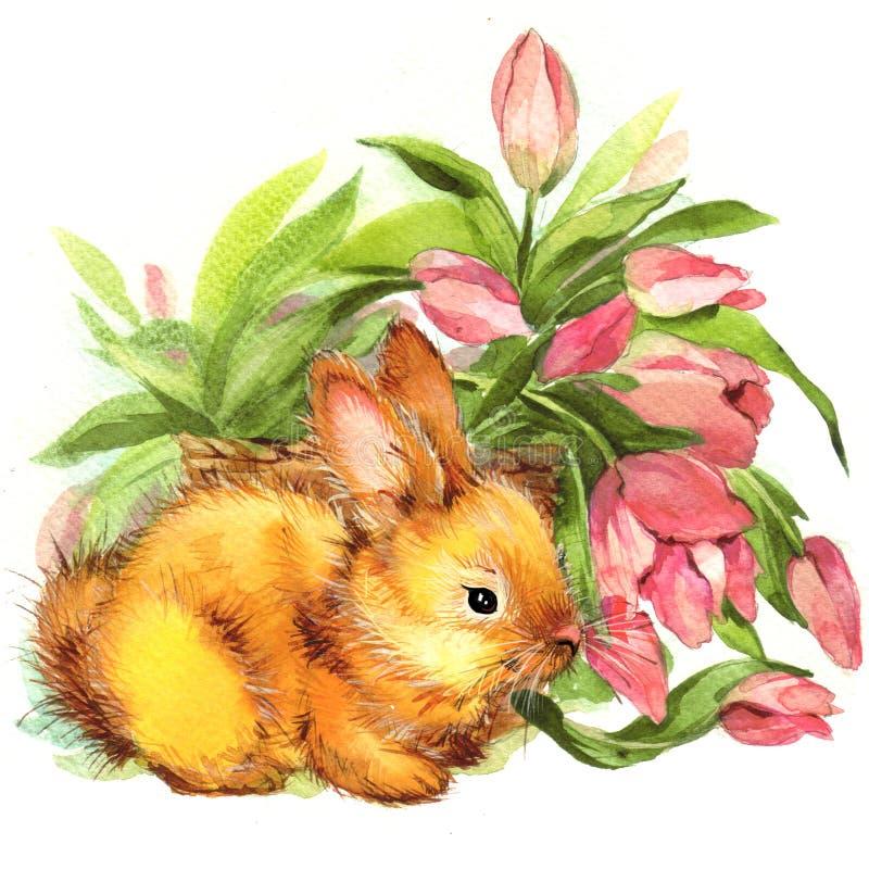 兔宝宝滑稽的例证 画开花的河结构树水彩绕的银行 库存例证