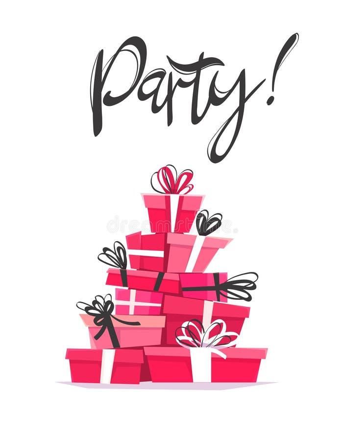 党卡片邀请模板、书法手拉的字法和动画片新式的礼物 传染媒介垂直的海报illustra 向量例证
