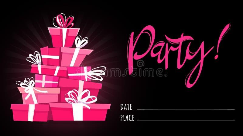 党卡片邀请模板、书法手拉的字法和动画片新式的礼物 传染媒介垂直的海报illustra 库存例证