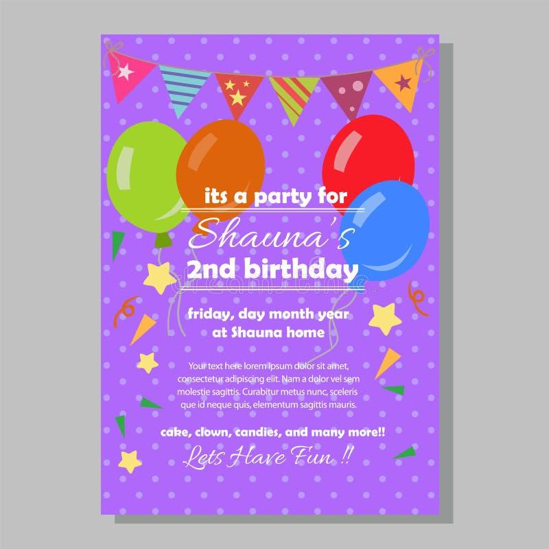 党生日与平的样式的邀请模板 库存例证