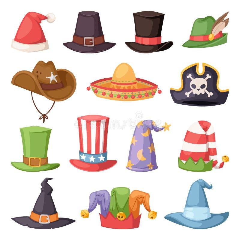 党的不同的滑稽的帽子和假日化妆传染媒介 皇族释放例证