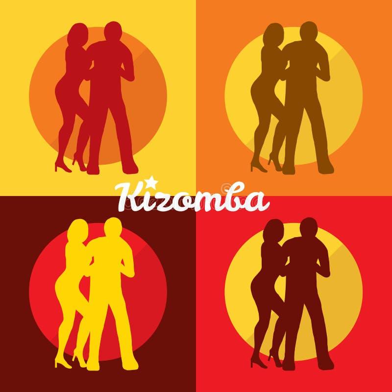 党的Kizomba海报 夫妇跳舞查出的白色 皇族释放例证