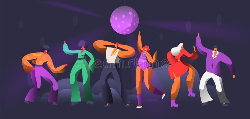 党舞蹈家字符舞蹈在夜总会 在人的迪斯科球跳舞 愉快的朋友聚成棍棒状一团概念 皇族释放例证