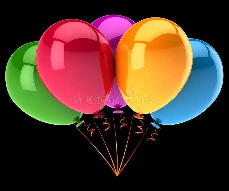党迅速增加五颜六色五5 生日快乐气球束 皇族释放例证