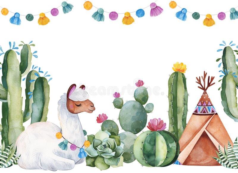 党邀请用绿色水彩仙人掌、多汁植物、花、诗歌选、圆锥形帐蓬和逗人喜爱的骆马 向量例证