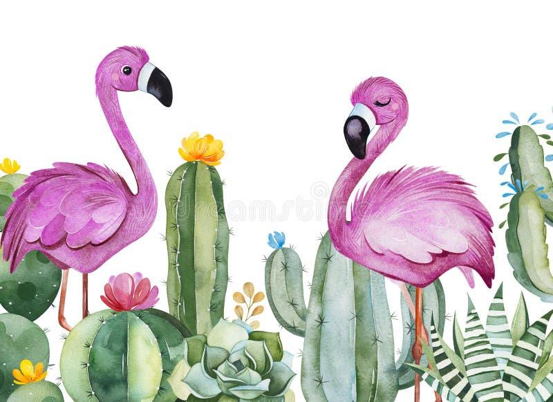 党邀请用绿色水彩仙人掌、多汁植物、花和桃红色火鸟 向量例证