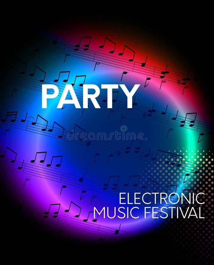 党,电子音乐节日背景 向量例证