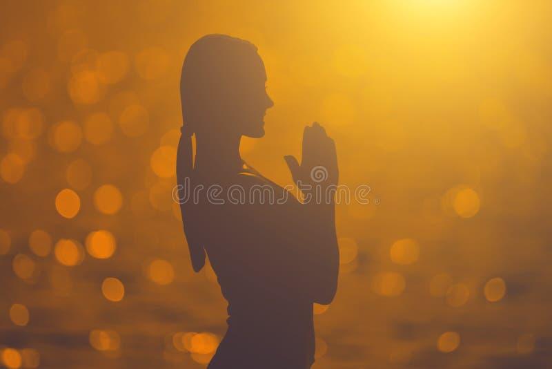 介入体育外部一位美丽的运动员的剪影在湖举办在日落背景的训练  免版税库存照片