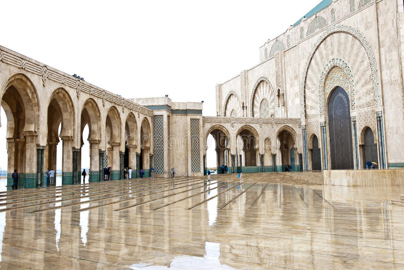 入口哈桑二世国王清真寺,卡萨布兰卡 库存图片