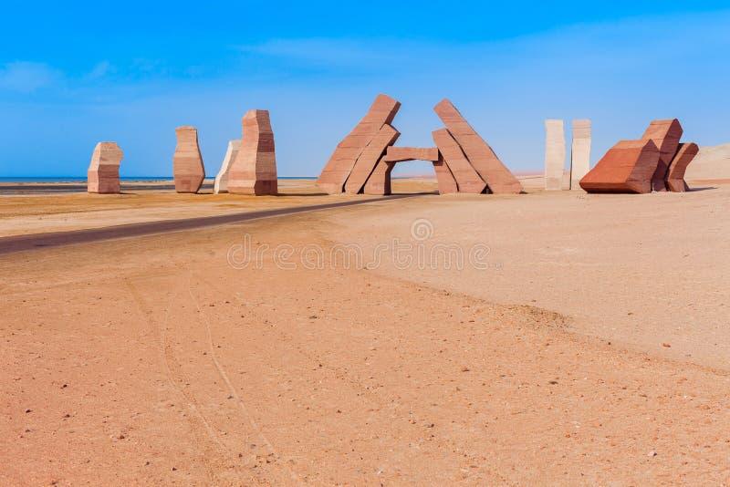 入口在Ras默罕默德国立公园 著名旅行destionation在沙漠 Sharm El谢赫,西奈半岛,埃及 免版税库存图片
