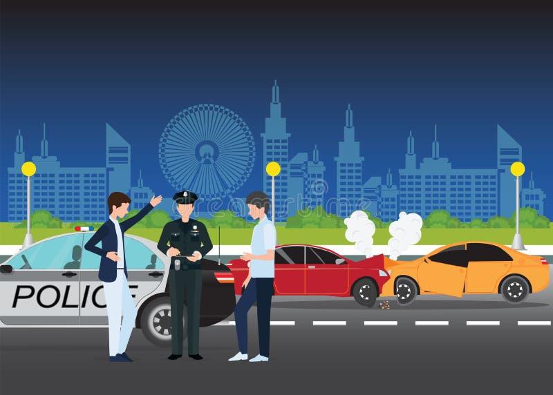 介入在城市街道上的车祸或车祸两辆汽车 库存例证