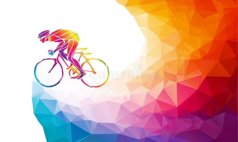 介入自行车种族专业骑自行车者 多角形低多 库存例证