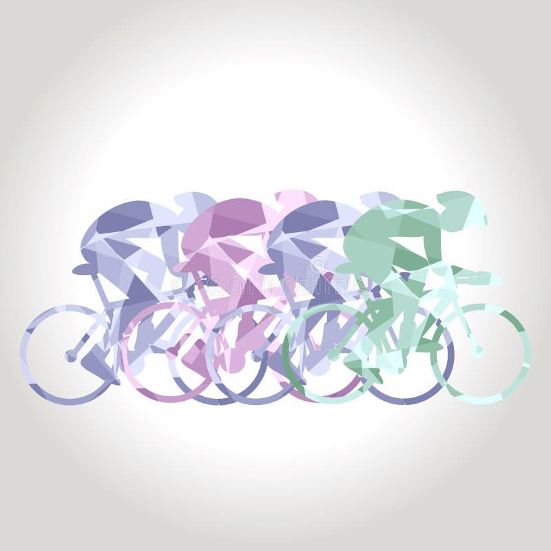 介入自行车种族专业骑自行车者 多角形低多 向量例证