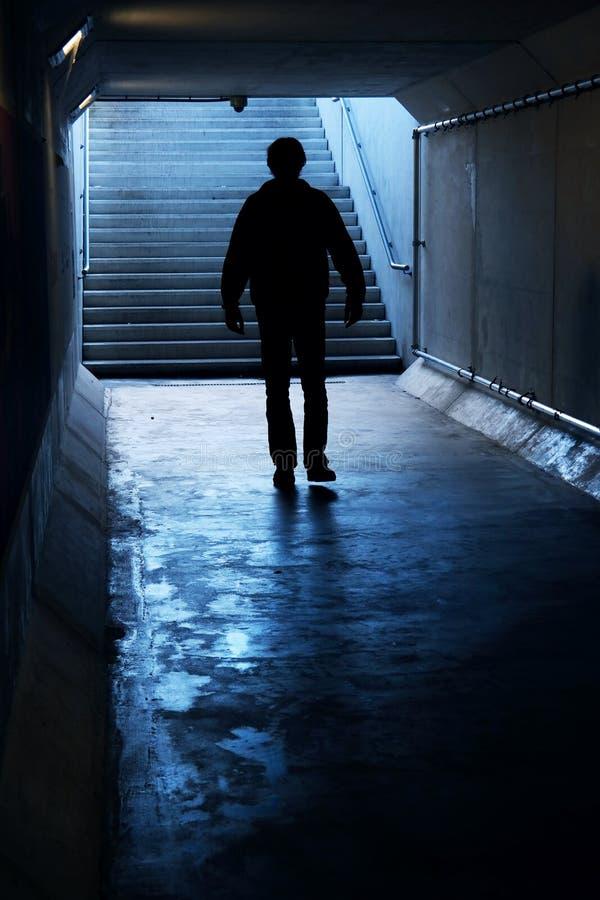 入黑暗的隧道 库存照片