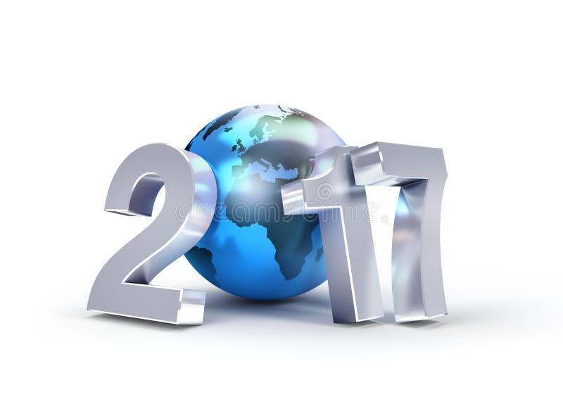 2017全世界事务的新年标志 向量例证