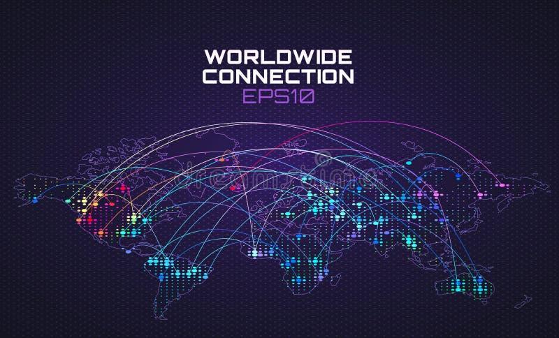 全世界互联网社交通信 数据流弹道,计算抽象背景的云彩 全球网络 向量例证