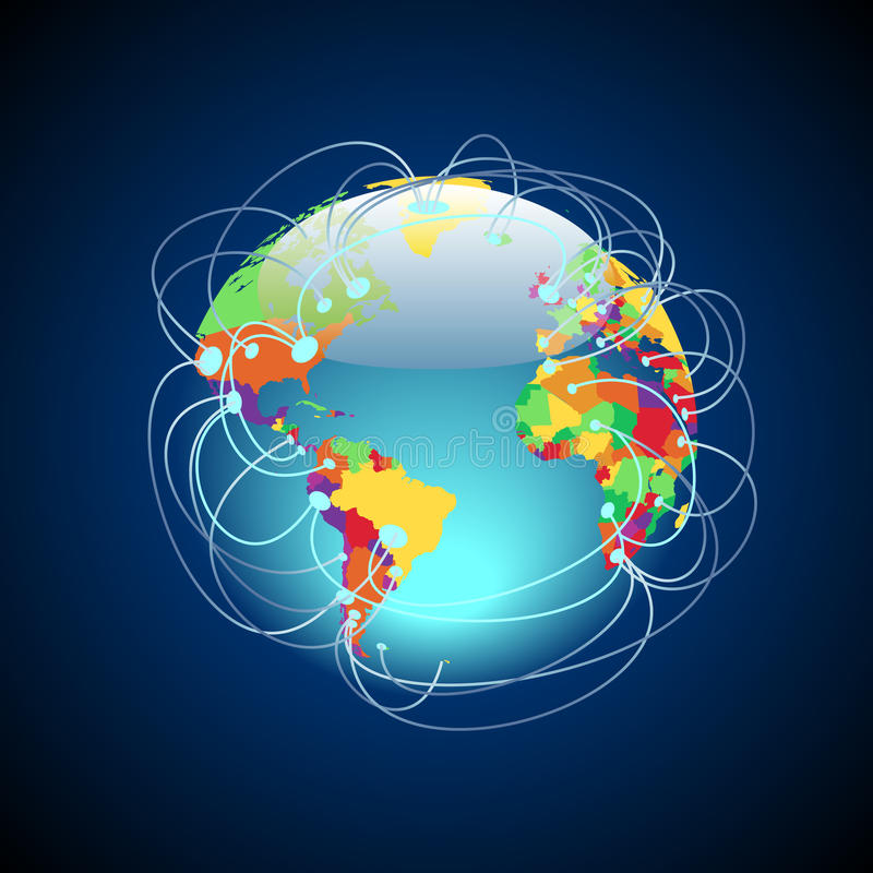 全世界五颜六色的连接数 皇族释放例证