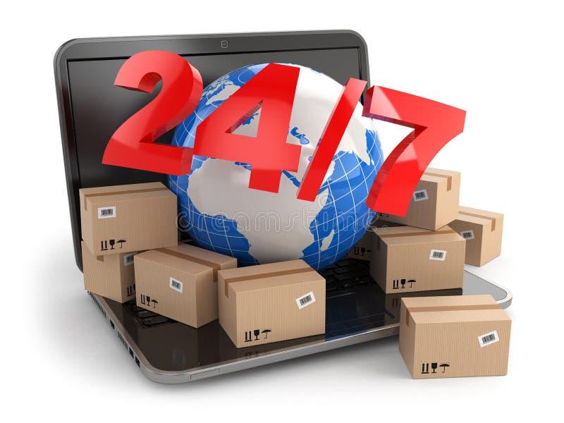 全世界交付。地球和箱子在膝上型计算机。24/7 库存例证