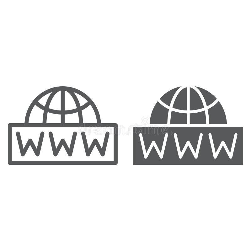 全世界净线和纵的沟纹象、通信和网络,互联网标志,向量图形,一个线性样式 皇族释放例证