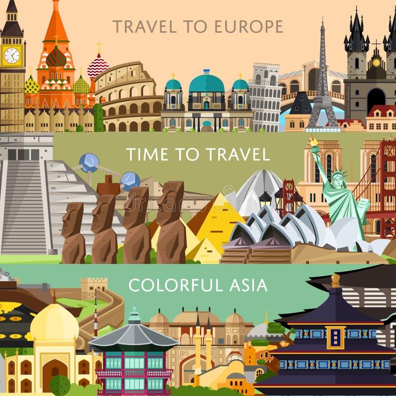 全世界旅行设置与著名地平线吸引力 向量例证