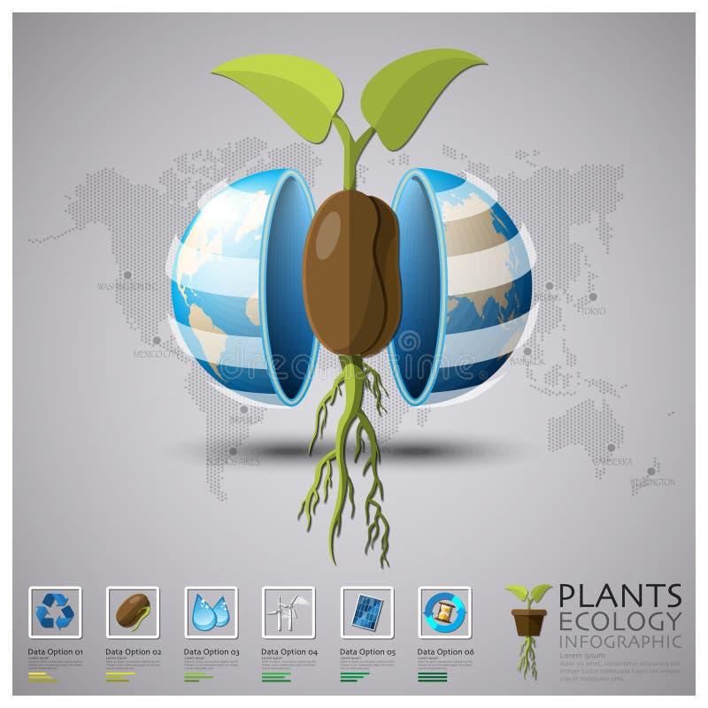 全世界植物生态学和环境Infographic 库存例证