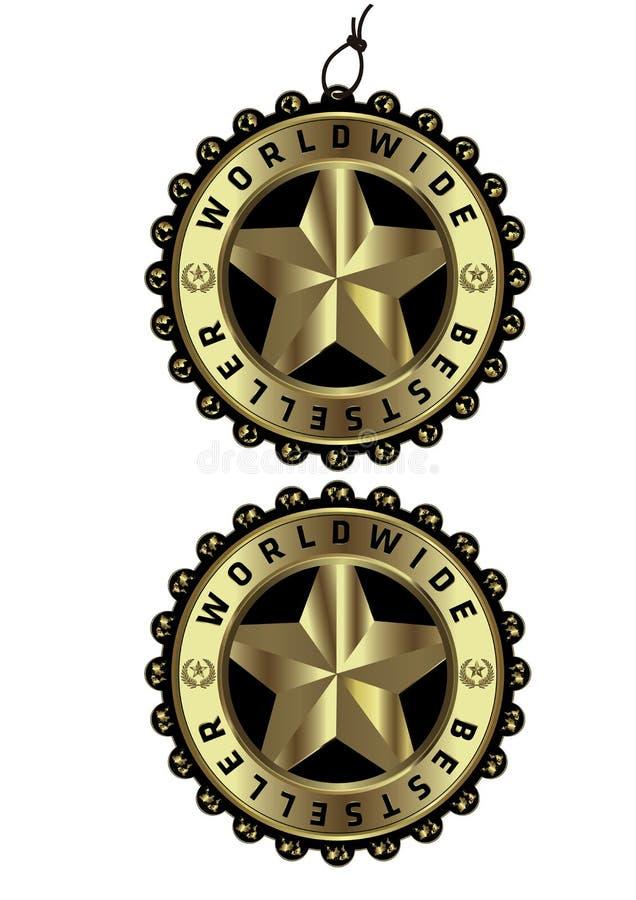 全世界畅销书豪华金黄标签&标记  向量例证
