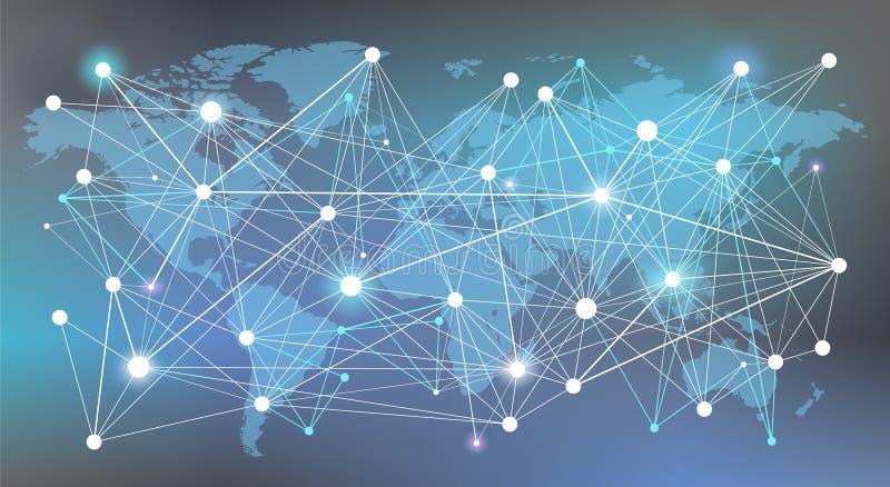 全世界网络概念:数据、管理、分析和资源-例证 库存例证