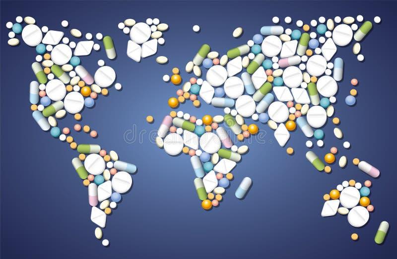 全世界药片的医学 皇族释放例证